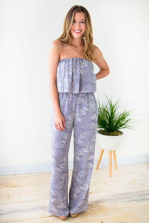 Summer Palm Print Jumpsuit