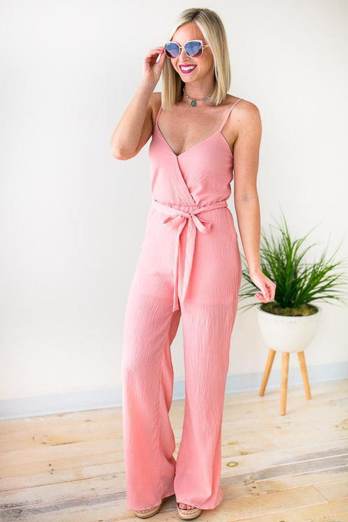 Good Either Way Surplice Tank Jumpsuit - Rose