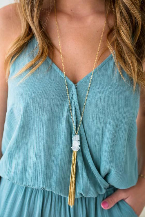 Long Stone Tassel Necklace