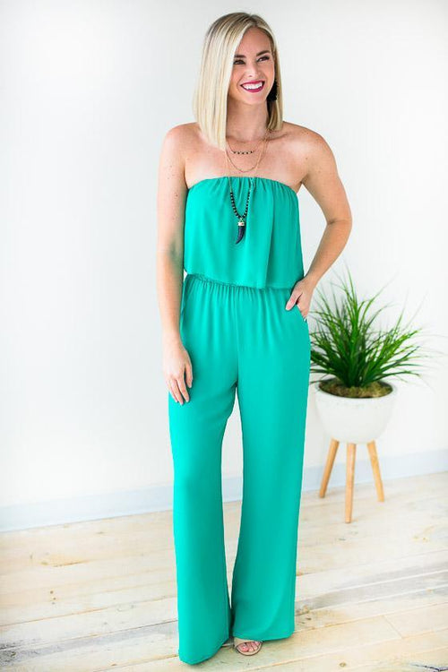 Green Strapless Jumpsuit