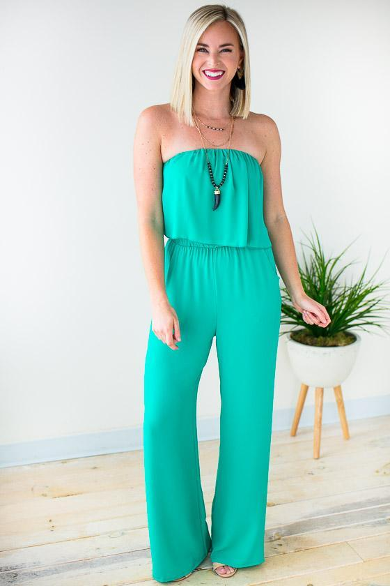 828490338b74 Jumpsuits Haute Hues Jade Strapless Jumpsuit - Lotus Boutique