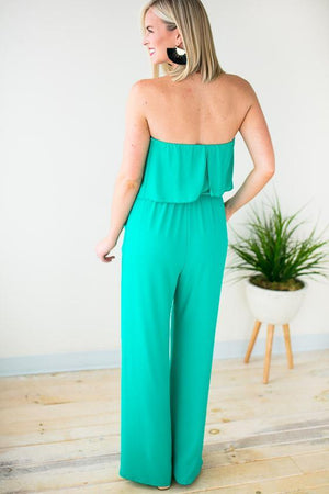 Green Strapless Pocket Jumpsuit