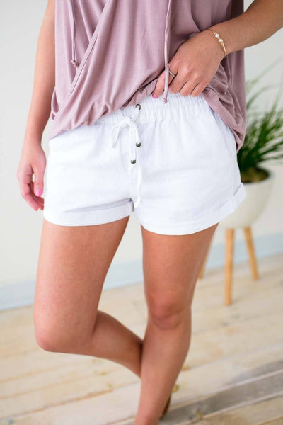 White Linen Drawstring Shorts