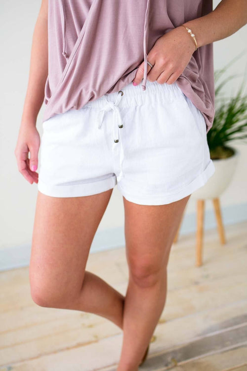 Lost By the Shore White Linen Shorts