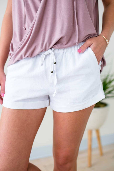 Drawstring Summer White Linen Shorts