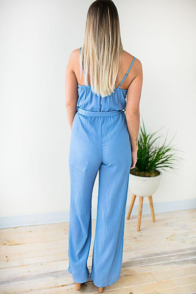 Jumpsuits Good Either Way Surplice Tank Jumpsuit - Blue - Lotus Boutique