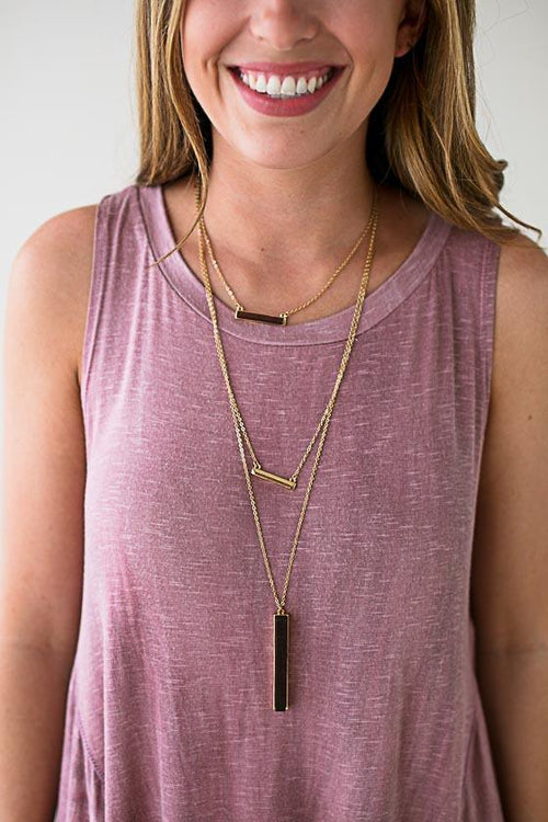 Wood Bar Layered Necklace