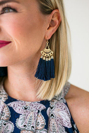 Navy Tassel Dangle Earrings