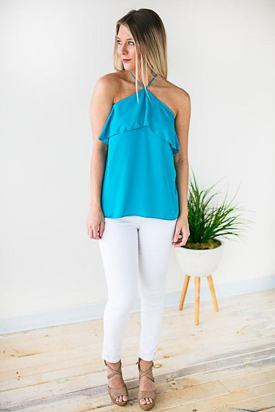 Tops Moving on to Summer Halter Neck Top - Turquoise - Lotus Boutique