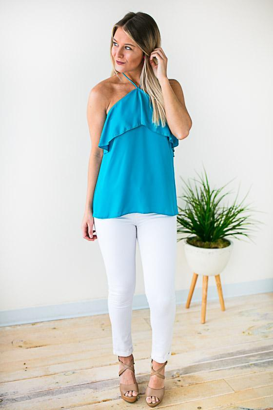 Moving on to Summer Halter Neck Top - Turquoise
