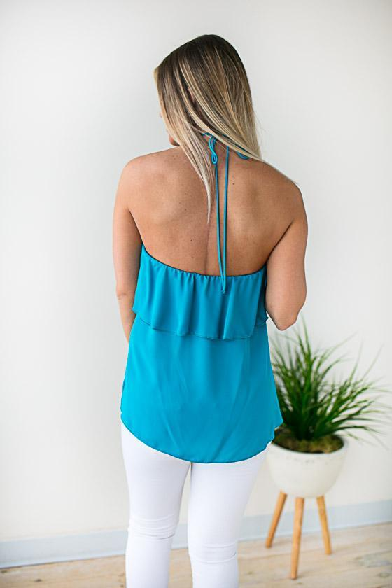 Halter Neck Ruffle Blouse In Turquoise
