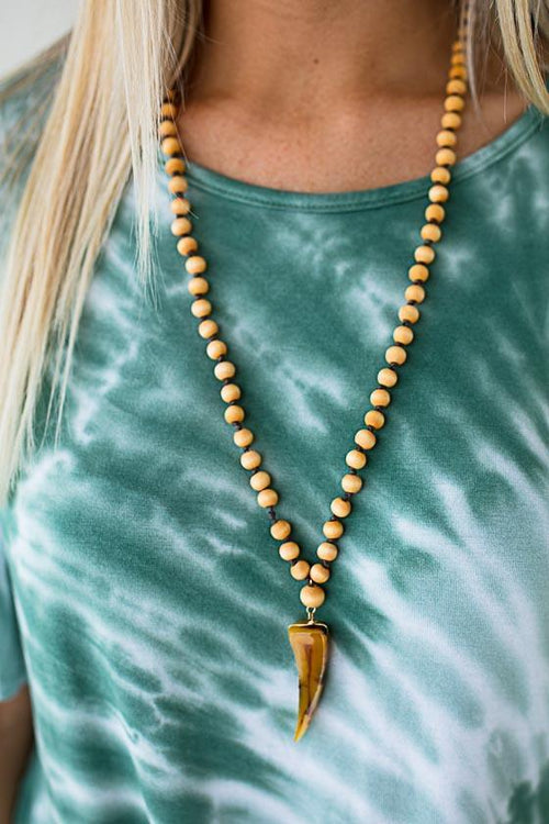 Face to Face Wood Bead Horn Necklace
