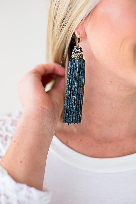 Dark Teal Tassel Earrings