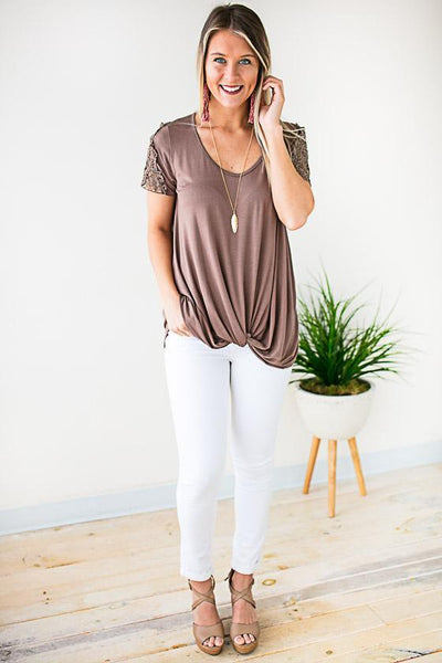 Tops I'm Just A Lady Knot Front Top - Lotus Boutique