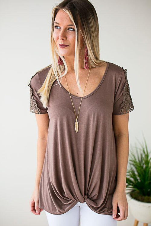 Knot Front Brown Top