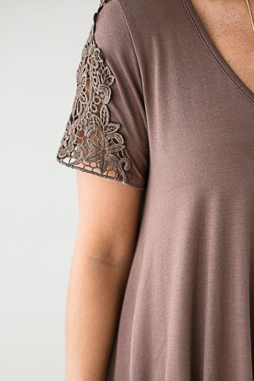 Lace Sleeve Knot Front Top