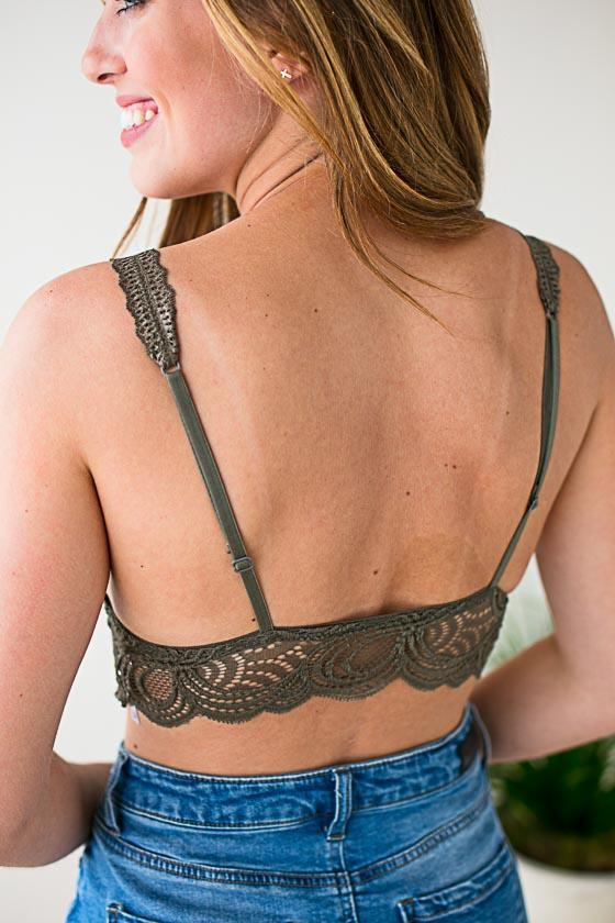 Accessories Happy Place Padded Lace Bralette - Herb - Lotus Boutique