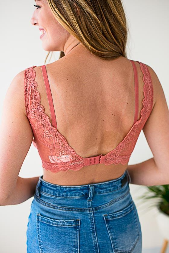 Accessories Double Trouble Lace and Mesh Bralette - Pink Clay - Lotus Boutique