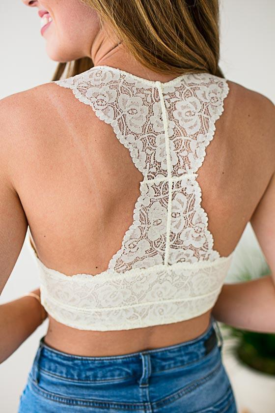 Accessories First Rose Cream Lace Bralette - Lotus Boutique