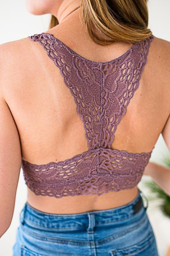 169da00344 Under Pressure Racer Back Lace Bralette - Dusty Purple