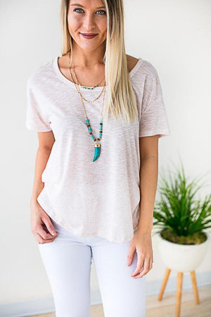 Blush Short Sleeve Open Back Top