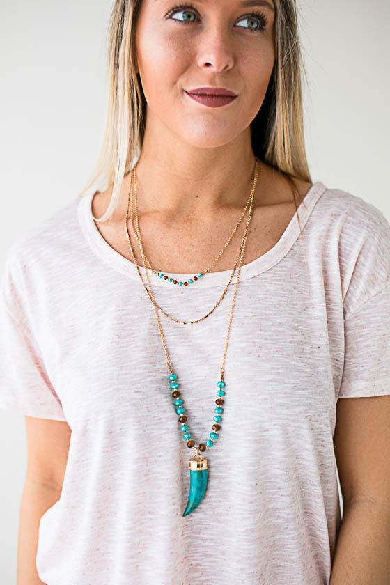 Accessories Hilary Layered Horn Necklace - Lotus Boutique