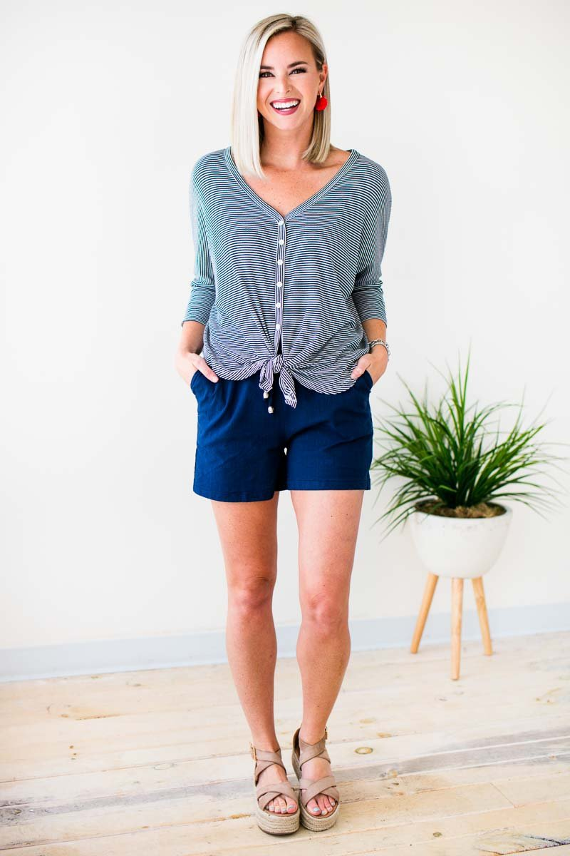 Bottoms Catching Fireflies Long Linen Shorts in Navy - Lotus Boutique