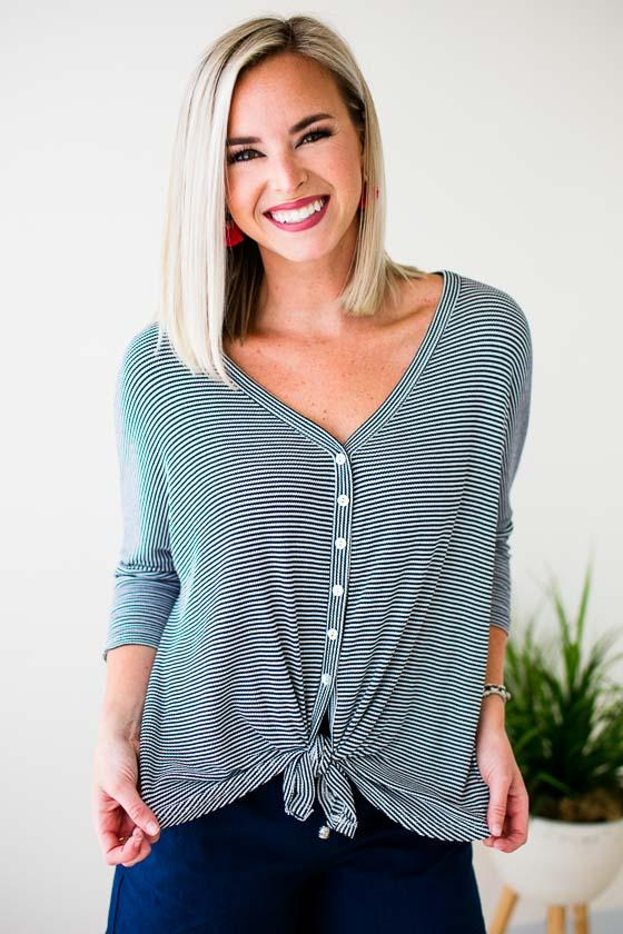 Tie Front Button Detail Top