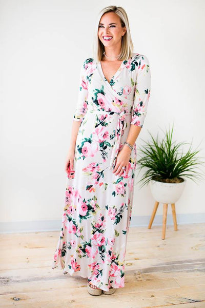 Faux Wrap Floral Cream Maxi Dress