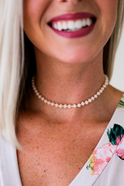 Beaded Light Pink Choker