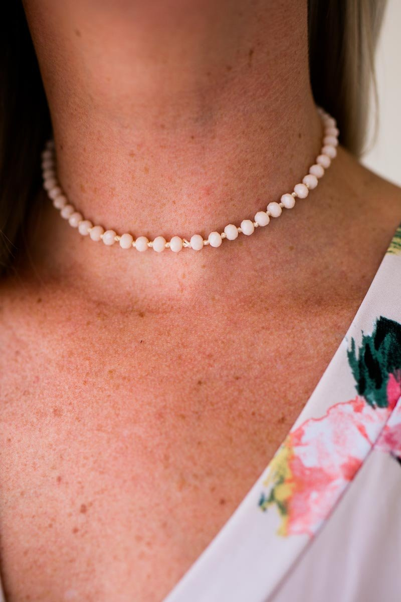 Accessories Not Ready for Love Light Pink Beaded Choker - Lotus Boutique