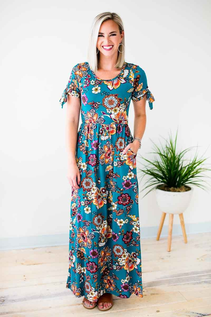 Floral Tie Sleeve Maxi Dress