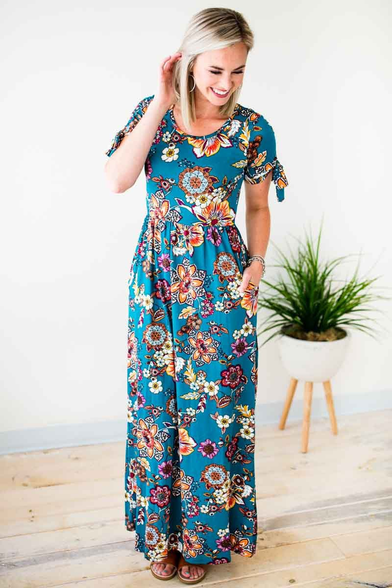 Dresses Floral Jungle Tie Sleeve Maxi Dress  - Lotus Boutique