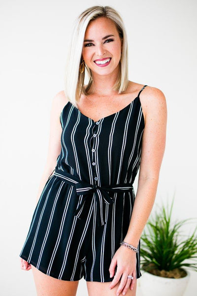 Rompers Next to Me Stripe Cami Romper in Black - Lotus Boutique
