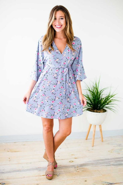 Dresses Molly Floral and Stripe Dress - Lotus Boutique