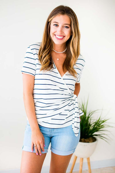 Tops Crawford Stripes Wrap Top in Navy - Lotus Boutique