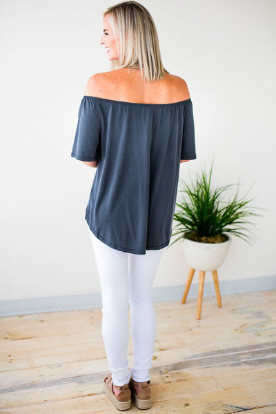 Tops Don't Be Surprised Titanium Tie Front Tunic - Lotus Boutique