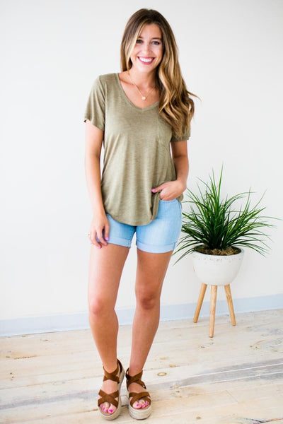 Tops Better Now Lightweight Pocket Tee in Sage - Lotus Boutique