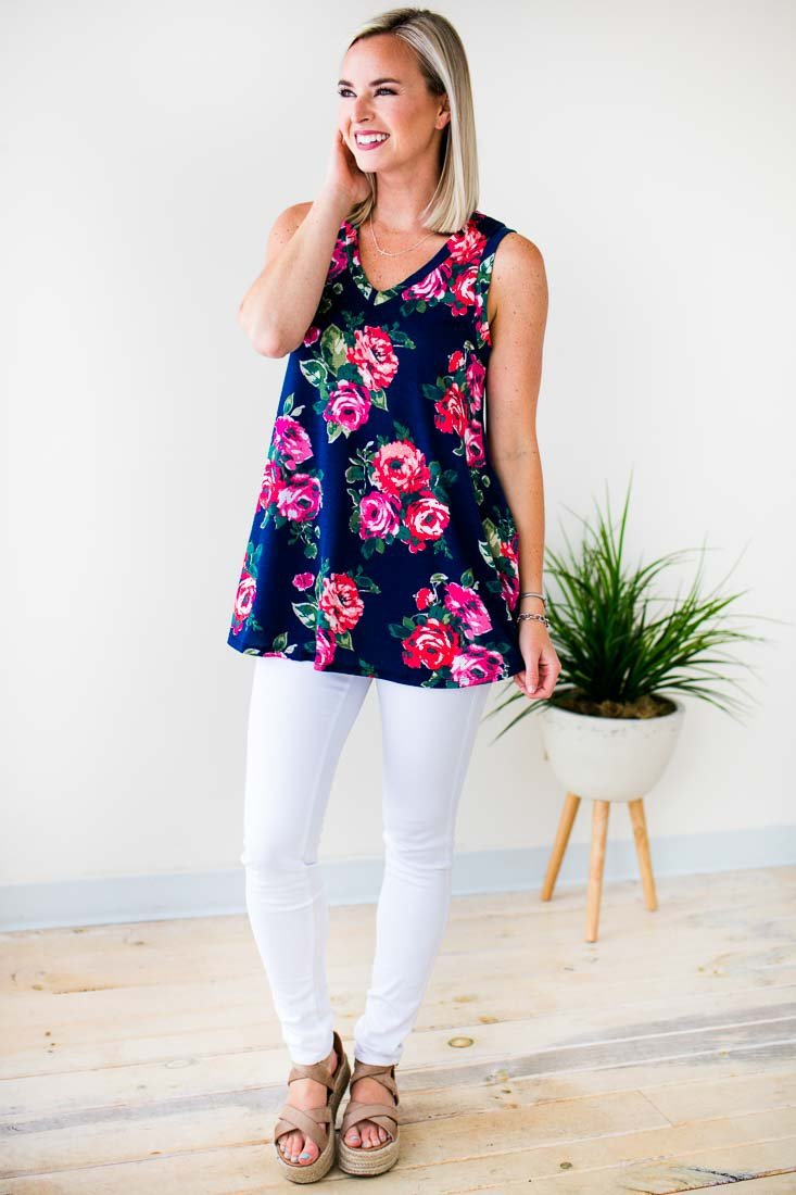 Tops Out of Time Rose Print Tank - Lotus Boutique