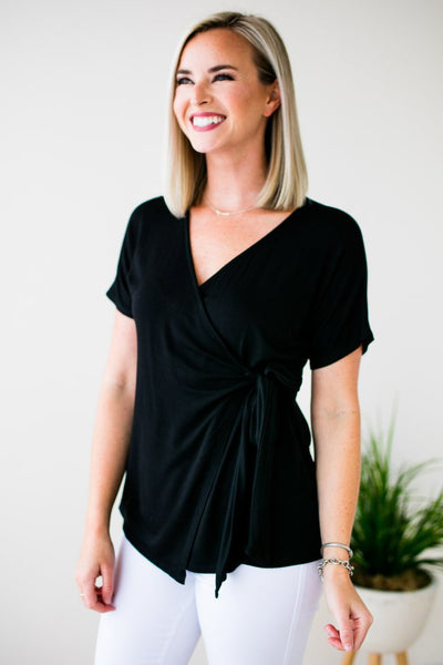 Tops All Around Blessings Wrap Top in Black - Lotus Boutique