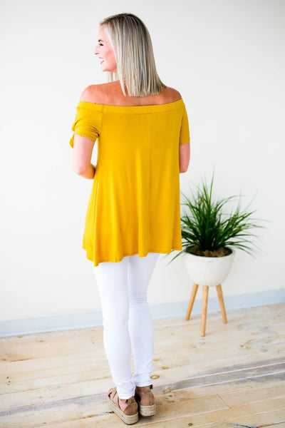Tops A Mile Away Off Shoulder Tunic in Mustard - Lotus Boutique