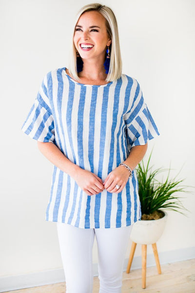 Tops I Need You to Believe Stripe Tunic Top - Lotus Boutique