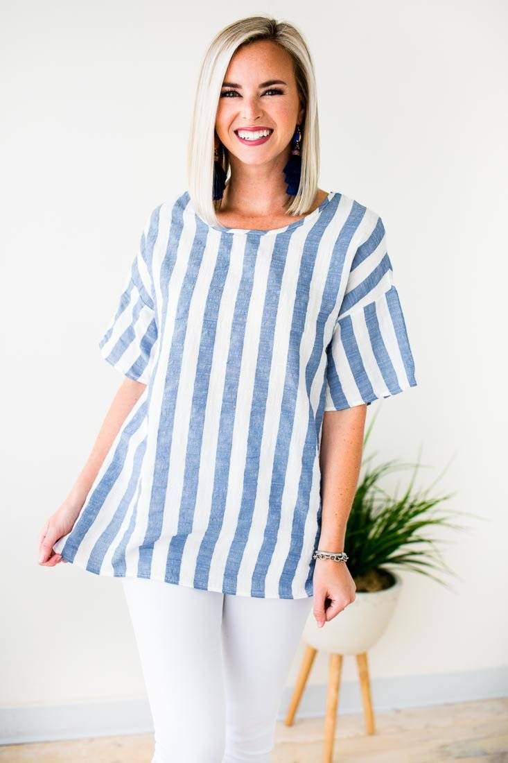 Light Material Blue Stripe Tunic