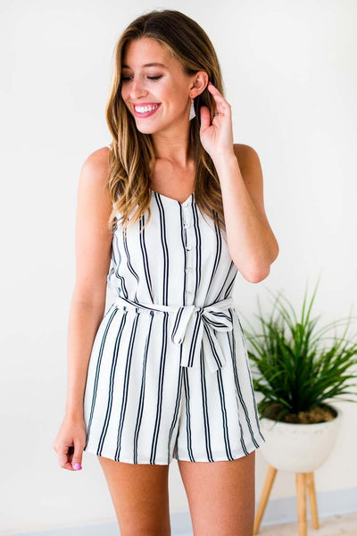 Rompers Next to Me Stripe Cami Romper in Ivory - Lotus Boutique