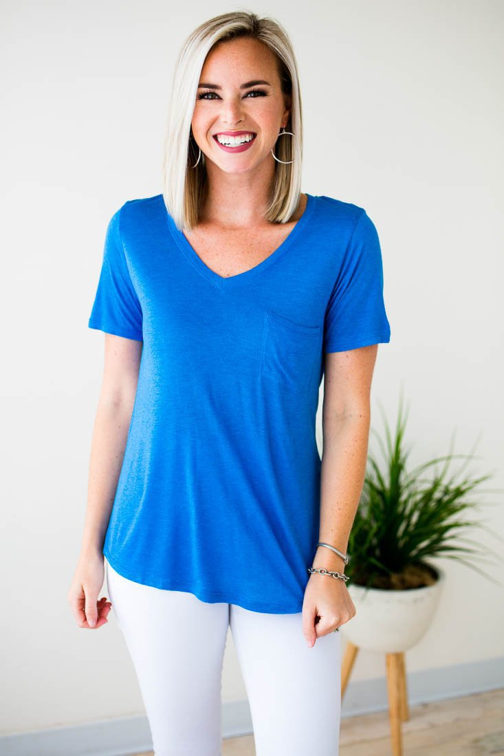 Ocean Blue Pocket Tee