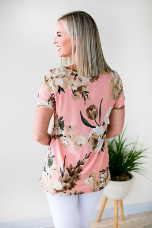 Peach Short Sleeve Floral Top