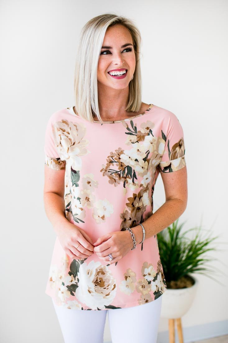 Floral Top In Peach