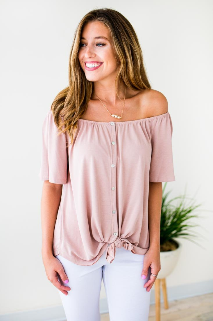 Off Shoulder Tie Front Blush Top