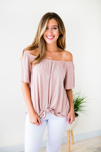 Tops Don't Be Surprised Blush Tie Front Tunic - Lotus Boutique
