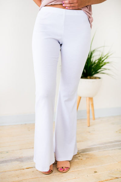 Stretchy Flare White Pants